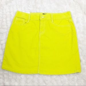 Gap Kids neon yellow corduroy like skirt